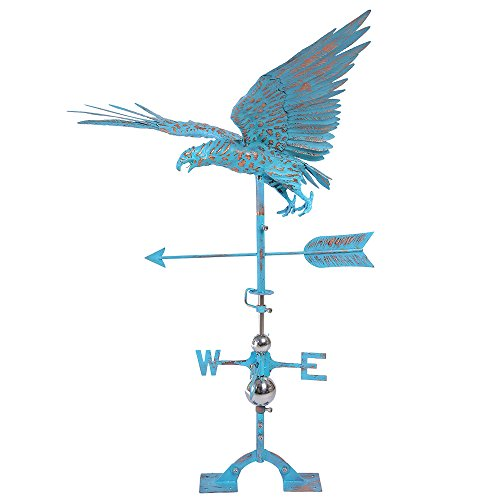 IORMAN Original Handcrafted 3D Flying Eagle Weathervane Aged Copper Directions Symbol for Farmhouse Barn Rustic Outdoor Garden