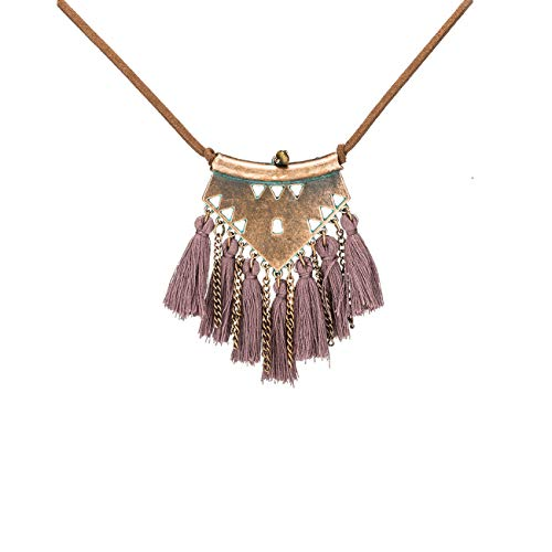 (BRBAM Refined Bohemian Style Tassel Necklace Tassel Pendant Leather Chain Sweater Necklace for Women (Purple))