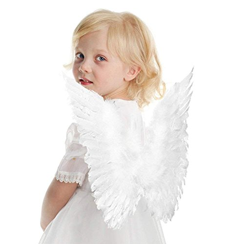 Interlink-UK Halloween Angel Costume for Girls Beautiful Feather Angel Wings Cosplay Costume for Adult Kids (Kid, 5 Pack-White) -