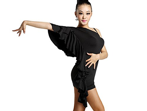 Motony Women Latin Dance Dress Adult Dance Costume Hip Packet Clothes Off Shoulder Practice Performance Wear Black (Dance Costumes/ Wear)