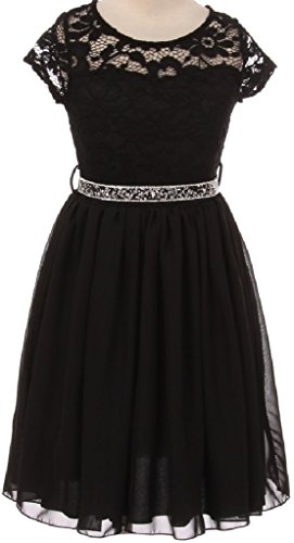 Big Girl Cap Sleeve Lace Top Chiffon Skirt Flower Girls Dresses (20JK53S) Black 10