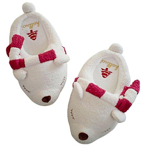 HALLUCI Women's Cozy Fleece Memory Foam House Trick Treat Halloween Slippers (5-6 B(M) US, Polar (Polar Bear Slippers)
