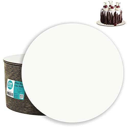 ([20 Pack] 8 Inch Round Cake Boards - Grease Proof Cardboard Disposable Cake Pizza Circle Scalloped White Tart Decorating Base Stand)