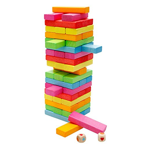 Remeehi Wooden Tower Wood Building Blocks Toy Domino Stacker