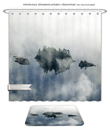 Minicoso Bath Two Piece Suit: Shower Curtains and Bath Rugs Aerial View Of Fog In Autumn Over Islands And Hills North Of Portland Maine Shower Curtain and Doormat - Macys Maine