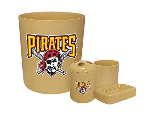 New 4 Piece Bathroom Accessories Set in Beige featuring Pittsburgh Pirates MLB Team logo!