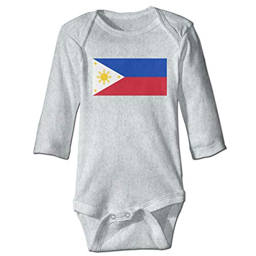 A14UBP Newborn Baby Boys Girls One-Piece Rompers Philippines Flag Print Long Sleeve Underwear Babies Gray