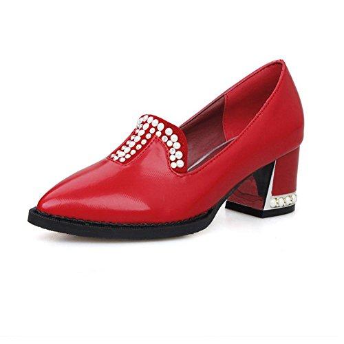H H Quatre Saisons Femmes (rouge .bleu Beige. Blanc) Diamond-toe Talon Moyen Usure Des Chaussures En Caoutchouc Et Résistant Au Dérapage, Rouge, 41
