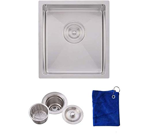 Hotis Drop In 15 x 17 Inch Undermount Square Stainless Steel Kitchen Sink,Bar Sink 16 Gauge With Strainer