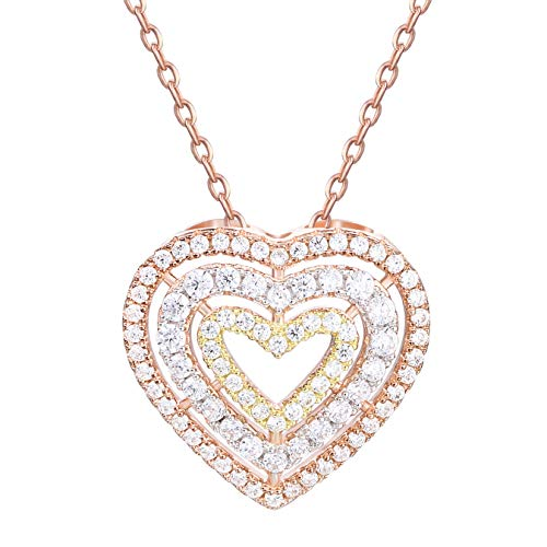 GuqiGuli Sterling Silver Tri-Color Rose Gold Triple Heart Pendant Necklace for Women, 18''