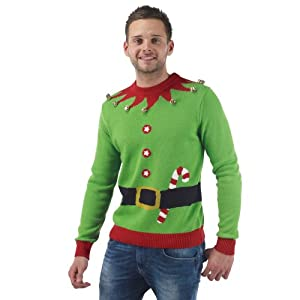 Mens Elf Knitted Christmas Jumper - M: Amazon.co.uk ...