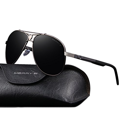 (MERRY'S HD Polarized Aluminum Sunglasses Luxury Shades Shield Series S8086 (Gray,)