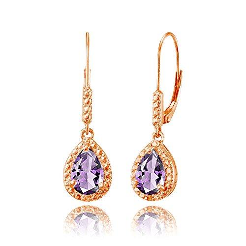 Amethyst Rose Gold Bracelet - Rose Gold Flashed Sterling Silver Amethyst Teardrop Dangle Leverback Earrings