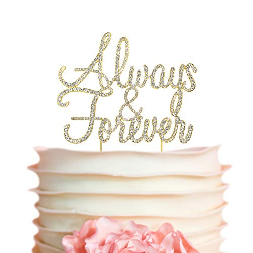 Always & Forever GOLD Cake Topper | Premium Sparkly Crystal Rhinestones | Wedding Anniversary Vow Renewal Bridal Shower Decoration Ideas | Perfect Keepsake (Always&Forever Gold)