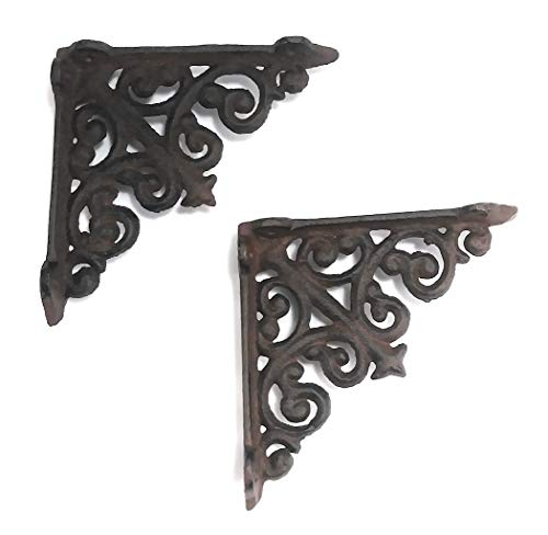 - Lot/Set of 2 - 4 Inch - Thick Victorian Shelf Bracket - Cast Iron - Scroll Design - All-Purpose Hanger - Black - Primitive Design - Indoor or Outdoor Use ()