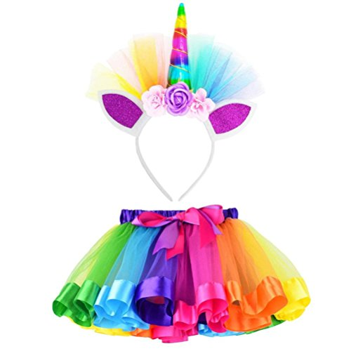 Clearance!!Kids Party Dance Ballet Costume Set,Girls Rainbow Layered Tutu Skirt + Hairband (S, Red) ()
