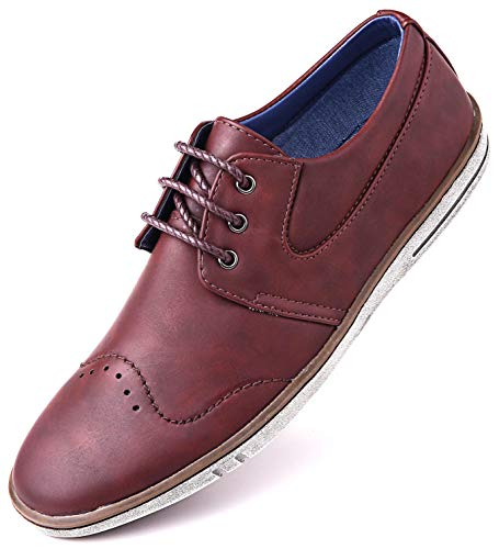 - Mio Marino Men Casual Oxford Shoes - Comfortable Business Fashion Mens Casual Dress Shoes - Urban Rugged Collection - Brick - 7 D(M) US