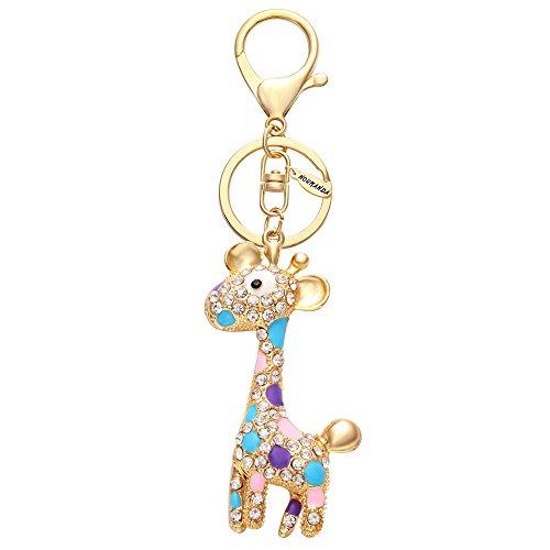 NOUMANDA Cute Animal Giraffe Crystal Keychain Bag Charm Keyring (gold)