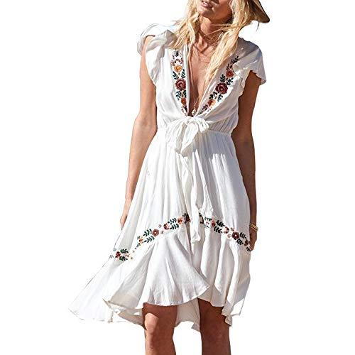 - myodress Women's Casual Boho Embroidered Short Sleeve Deep V Neck Tie Knot Front Ruffle Hem Swing Mini Dress White