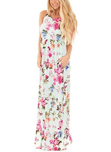 Roswear Women's Summer Casual Floral Print Racerback Sleeveless Tunic Maxi Dress Light Green Medium