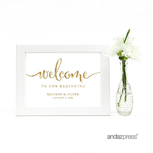 Andaz Press Personalized Wedding Framed Party Signs, Gold Glitter Print, 5x7-inch, Welcome to our Beginning, 1-Pack, Not Real Glitter, Includes Frame, Custom Made Any Name (1 Gold Framed Print)