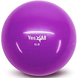 Yes4All Soft Weighted Toning Ball/Soft Medicine Sand Ball – Great for Exercise, Workout, Physical Therapy – Soft Weighted Ball (8 lbs, Purple)