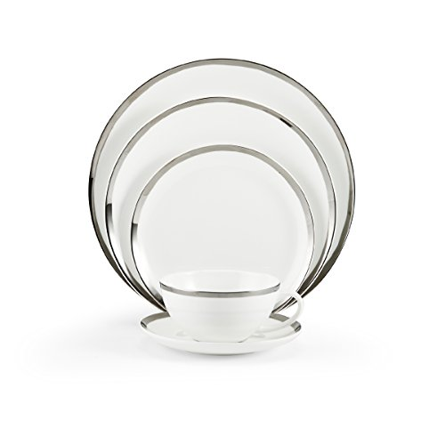Gibson Platinum Plates - Mikasa Blakeslee Platinum Bone China 5-Piece Place Setting, Service for 1, White/Platinum