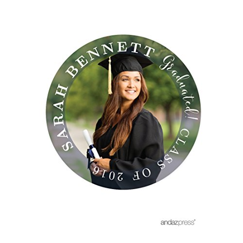 Andaz Press Photo Personalized Storybook Graduation Collection, Round Circle Gift Class of Label Stickers 2, 40-Pack, Custom Image