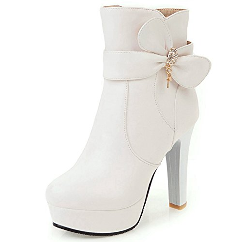 DoraTasia Sweet Bow Tie Chunky High Heel Platform Women's Shoes With Rhinestone Deaoration Party Office Casual Ankle Boots White 1o276