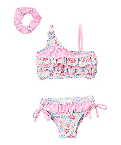 Sweet & Soft Girls Pink Floral Bikini Swim Set - Infant & Toddler (3T)