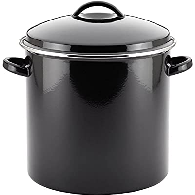 Farberware Enamel on Steel 18-Quart Stockpot with Snug-fit Lid and Stain Resistant Exterior, Black