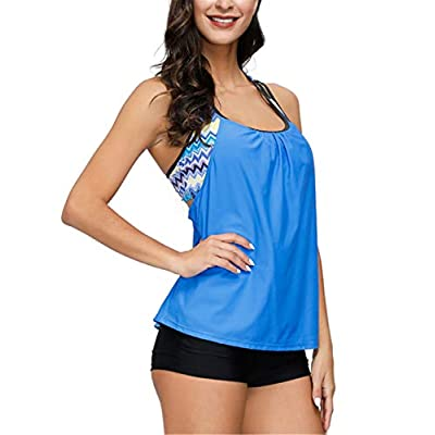 JASAMBAC Women's Swimsuits Two Piece Strappy T Back Tankini Tops with Boy Short: Clothing