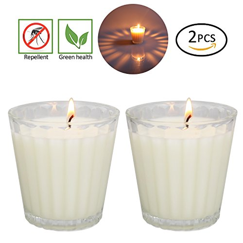 Citronella Candles Scented, GIANT 1lb Natural Soy Wax, Glass Jar 4 oz, 25-30 Hour Burn, Natural Mosquito Repels, Outdoor and Indoor (Natural Soy Jar Candle)