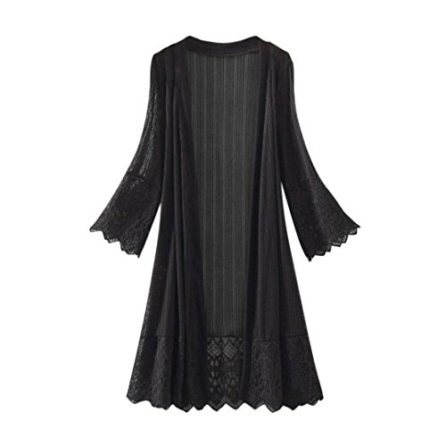 - Cardigans for Womens, FORUU Fashion Casual Long Sleeve Lace Blouse Open Front (M, Black)