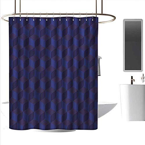 (coolteey Shower Curtains Extra Long Indigo,3D Print Like Geometrical Futuristic Inspired Shadow Boxes Cubes Image Print,Dark Blue and Blue,W55 x L84,Shower Curtain for Bathroom)