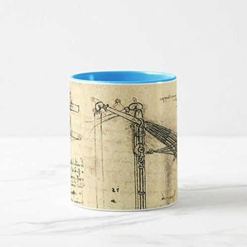 Zazzle Winged Flying Machine Sketch By Leonardo Da Vinci Coffee Mug, Light Blue Combo Mug 11 oz - Da Vinci 11 Light