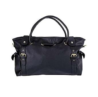 PU Leather Handbag Big Capacity Tote Bag Shoulder Bag [H9417 Re] Black