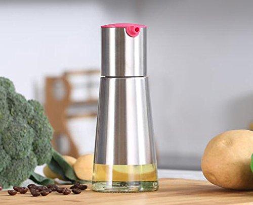 FJXLZ® Aceite de vidrio Botella de aceite de leakproof Spice Jar Suministros de cocina de acero inoxidable salsa de soja Botella de vinagre Botellas Pequeño ...
