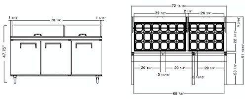 72″ SANDWICH PREP TABLE UNIT 3 DOOR MEGA TOP SALAD PREP 30 Pan 72 Cooler