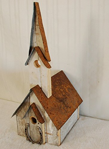 (Barnwood Church Birdhouse with Horseshoe Accent. Measures: 12