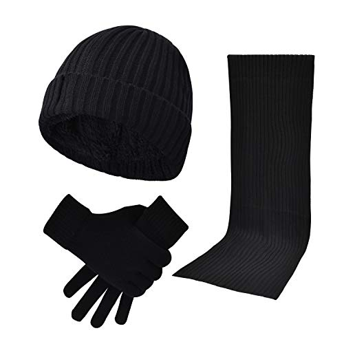 3 Pieces Winter Beanie Hat Scarf Touch Screen Gloves Knitted Cap Set Unisex for Men Women (Black-Scarf Set)