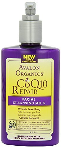 CoQ10 Facial Cleansing Milk By Avalon [250ml] | Prevents Wrinkles, Purifies, Hydrates & Supports Cellular Renewal Of Skin | Natural & Organic Ingredients | Ideal For Normal, Oily Or Sensitive Skin (Skin Collection Renewal)