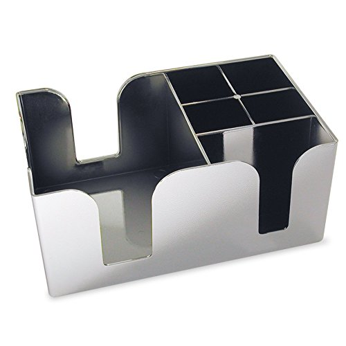 Co-Rect Plastic Bar Caddy with 6 Compartments, Chrome