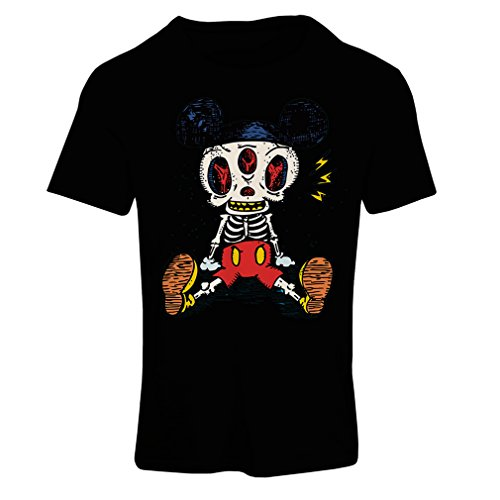 T Shirts for Women Mouse Skeleton Halloween Party Outfits Trick or Treat Death Skull Design (XX-Large Black Multi Color) -