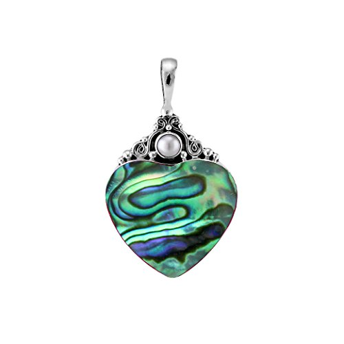 (Sterling Silver Heart Shape Pendant with Abalone Shell And Round Mother Of Pearl AP-1025-AB)