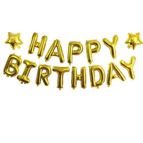 ZZART Happy Birthday Balloons Banner & Gold Star Foil Balloon,Foil Balloons for Happy Birthday Party,Baby Shower Decoration(Z19) -