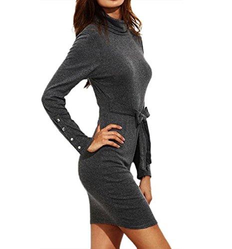 Rcool Damen elegante Langarm kurze dünnes Kleid Grau