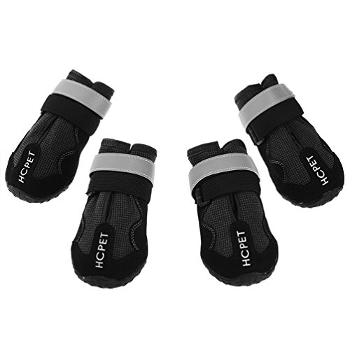 Petacc Anti-slip Dog Boots Comfortable Puppy Shoes Soft Pet Paw Protector Practical Pet Shoes with Rubber Sole, Black, 6 by Petacc