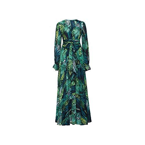 Long Sleeve Green Vintage Maxi Dress V Neck Belt Lace Up Tunic Draped Plus Size Dress,Green-Thick Chiffon,M