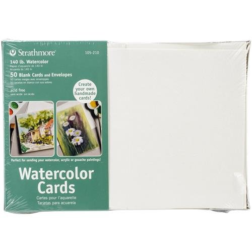 Strathmore Watercolor Cards, Full Size Cold Press, 50 Cards & Envelopes